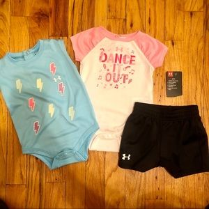 UNDER ARMOUR girls 3 pcs bundle onesies & short